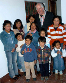 Mike and the children in the 'casario'